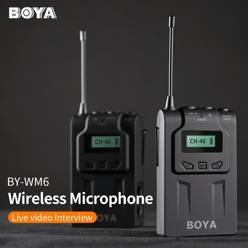 BOYA bY WM6 2 4GHz UHF Professional Omni Directional Wireless Lavalier Microphone System for Canon Nikon