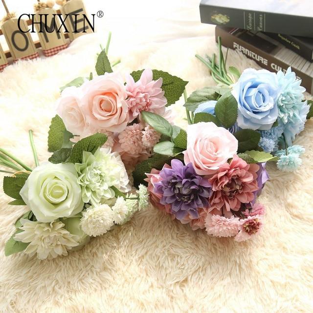 vivid Silk roses flower wedding bouquet dahlias Artificial flowers ...
