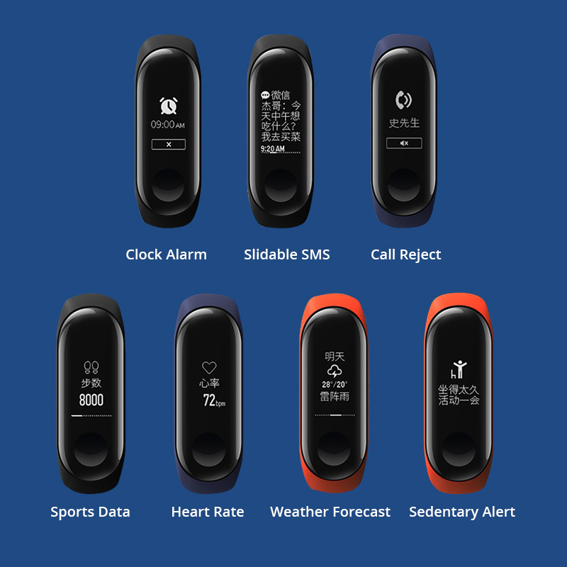 Image 5 - Original Mi Band 3 Smart miband3 Bracelet Heart Rate Fitness Watch 0.78 inch OLED Display 20 Days Standby band2 Upgrade-in Smart Wristbands from Consumer Electronics