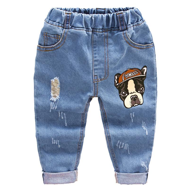 2018 Ripped Jeans For Kids Toddler Jeans Baby Boys Ripped Denim Jeans Children Fashion Jeans For Boys Casual Denim Pants 2-6Y