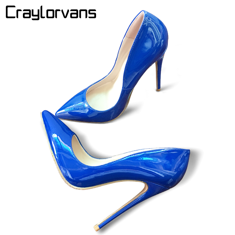 Craylorvans Top Quality Big Size 34-43 Women Pumps Blue Color Pointed Toe High Heels Sexy Thin Heels Zapatos Mujer Women ShoesCraylorvans Top Quality Big Size 34-43 Women Pumps Blue Color Pointed Toe High Heels Sexy Thin Heels Zapatos Mujer Women Shoes