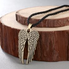 CHENGXUN Black Rope Cord Angel Feather Wing Charms Slip-on Necklace Brushed Antique Jewelry Gift for Boyfriend(China)