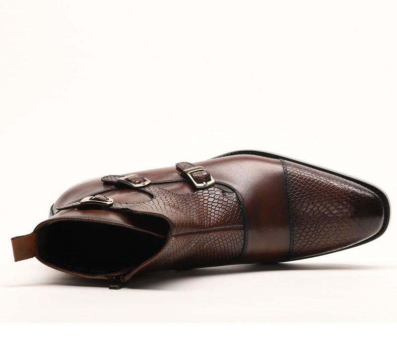 QYFCIOUFU Marke Neue männer Stiefel Aus Echtem Leder Männer Kleid Stiefel Schuhe Männlichen Britischen Chelsea Schnalle Herren Arbeit Stiefel - 5