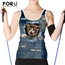 FORUDESIGNS Women Tank Tops Brand Clothing 3d Jeans Harajuku Cat Sleeveless Tshirt Crop Top Womens Shirt Cropped Camis Femininas