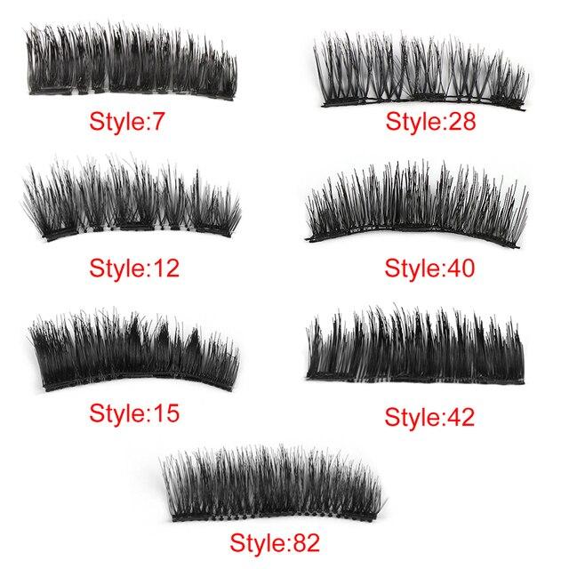 Triple Magnetic Silk Fiber False Eyelashes Full Coverage Glue-free Handmade Natural Fake Eye Lashes Makeup Beauty Extension Tool False Eyelashes