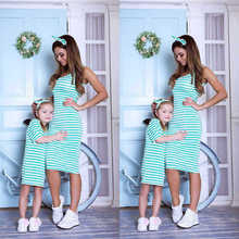 цены mommy and daughter matching clothes mom dress baby girl clothing striped casual new fashion dresses big sister family look