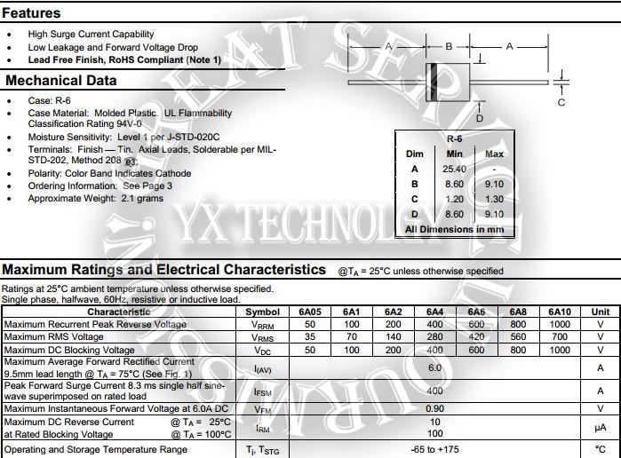 25pcs Rectifier diodes 6A 1000V