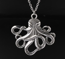 1 Pcs Large octopus Pendant Necklace Tibetan Silver Charms Fashion Jewelry Gift New