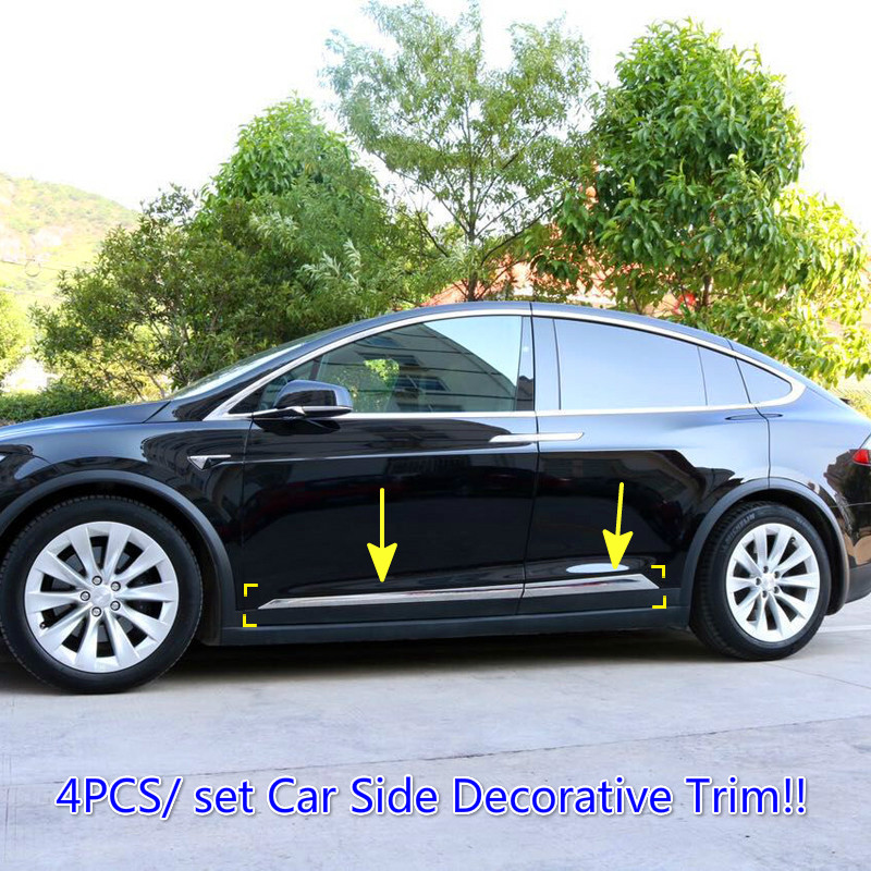 Exterior Accessories Car side Decorative Trim Stripe Covers pieces /set ABS Chrome For Tesla Model X 2016 2017 2018