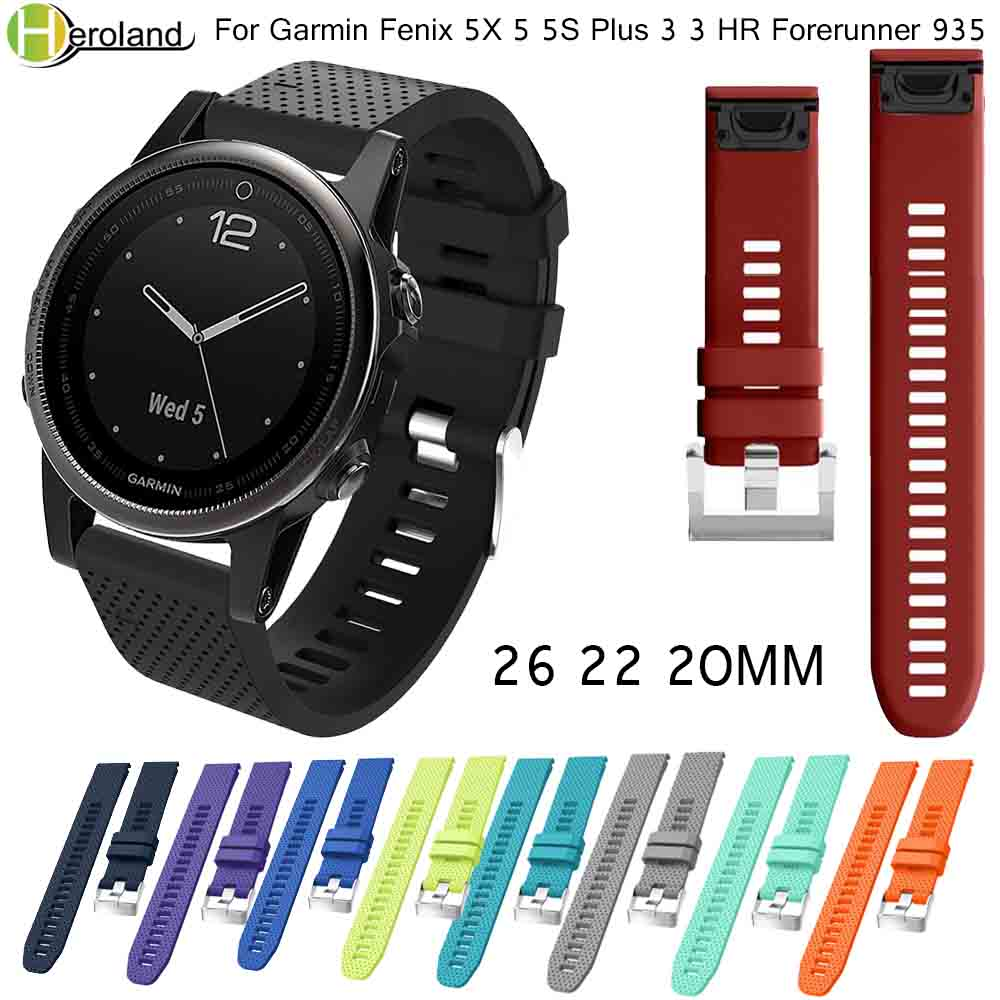26 22 20MM Watchband Strap For Garmin Fenix 5X 5 5S Plus 3 3HR 935 Watch Quick Release Silicone Easyfit Smart Wrist Band Strap