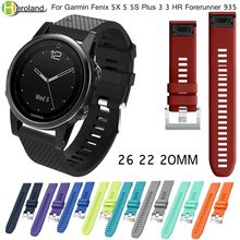 26 22 20MM Watchband Strap for Garmin Fenix 5X 5 5S Plus 3 3HR 935 Watch Quick Release Silicone Easyfit Smart Wrist Band