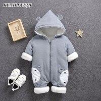 2019 otoño invierno abrigo mono Bebé Ropa recién nacido traje de nieve niño cálido Romper abajo chaquetas de algodón Niña nieve ropa mono