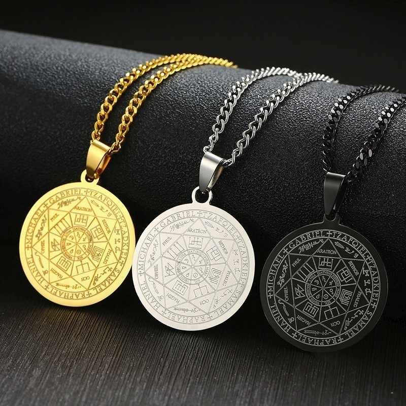 Pieczęć siedmiu archaniołów przez Asterion Seal Solomon kabała wisiorek Amulet naszyjnik biżuteria męska ze stali nierdzewnej prezent