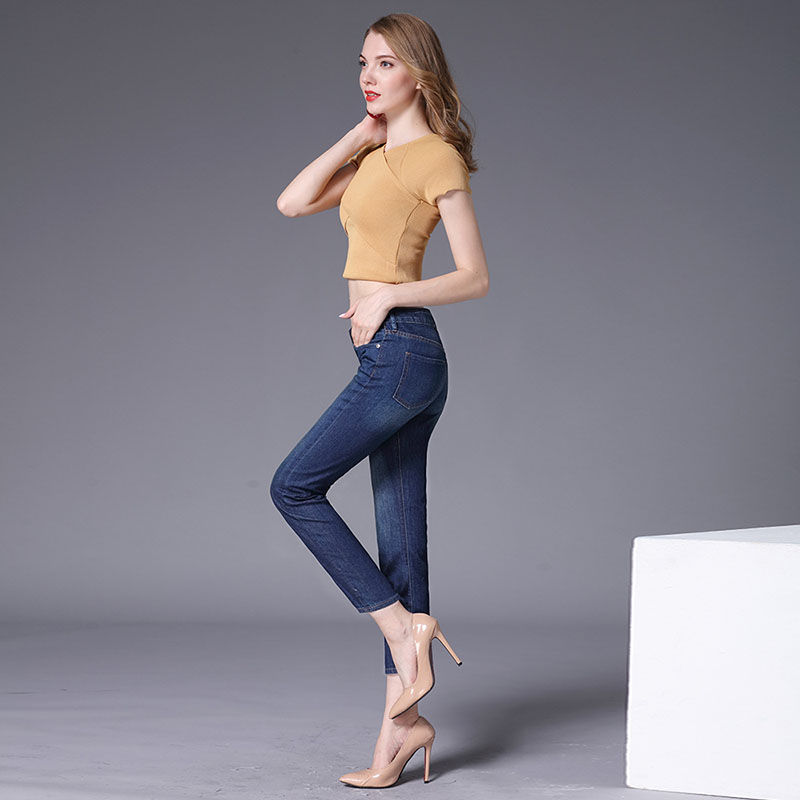 Summer New Female Line Loose Nine Points Jeans Trousers Women Vintage Straight Nine-Point Jeans Pants