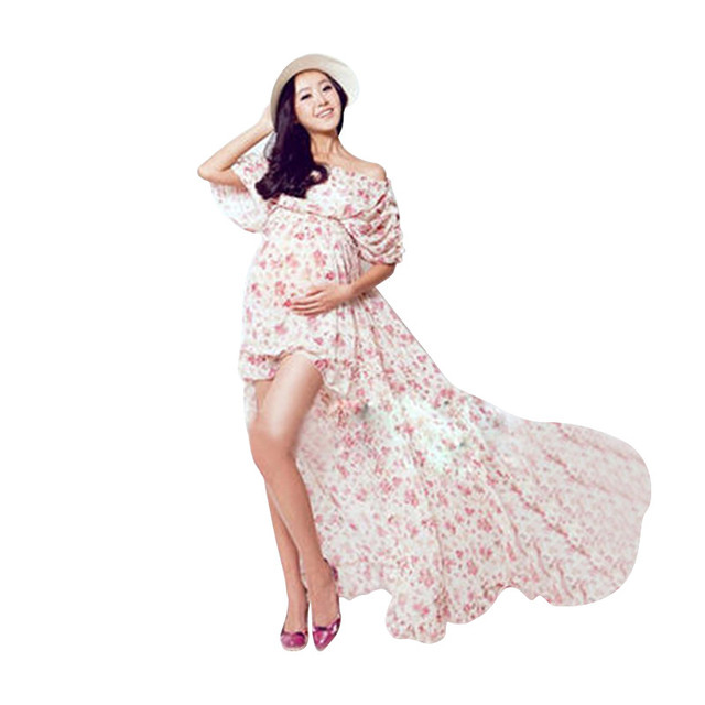Flower Printed Pregnant Photography Props Maternity Photo Dress Long Photo Shoot Dress Evening Party Dress
