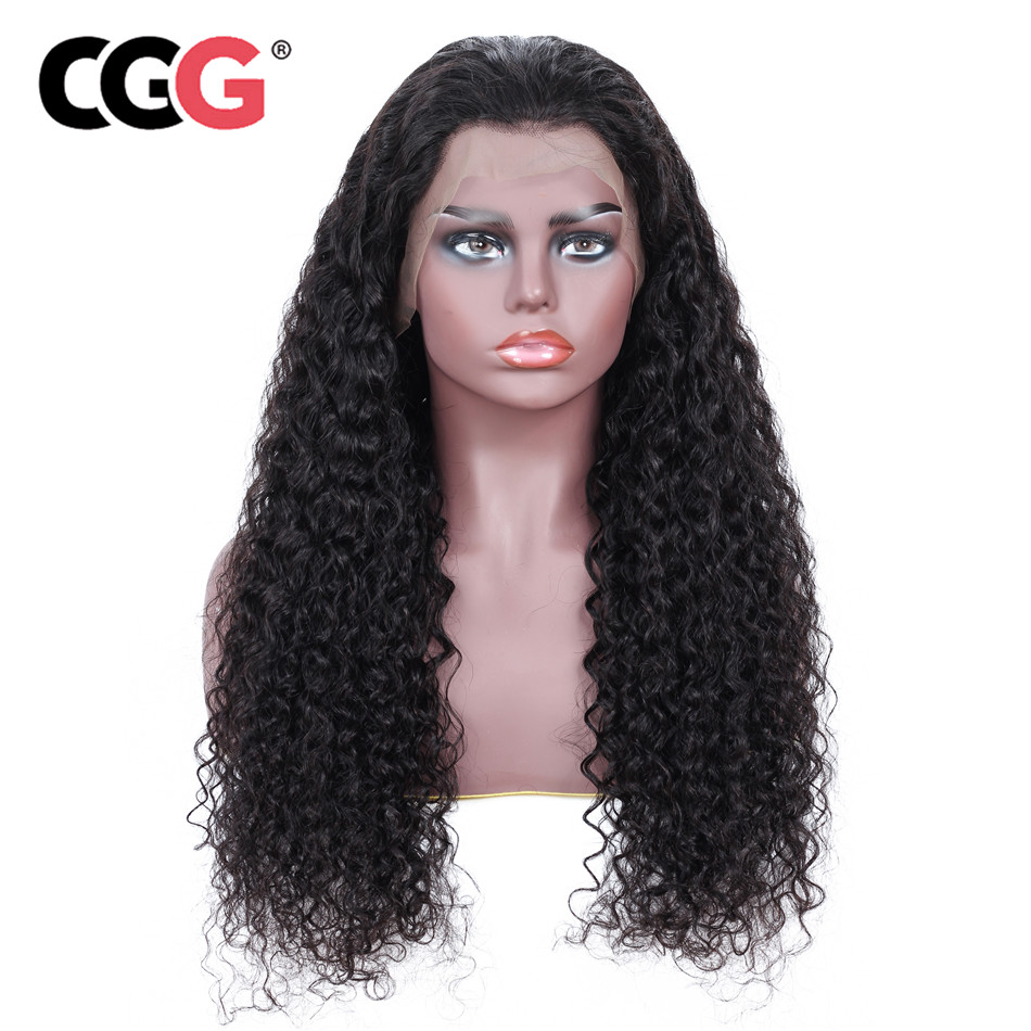 CGG Malaysian Kinky Curly Wig Natural Color Lace Front Wigs Remy Pre Plucked Wigs With baby