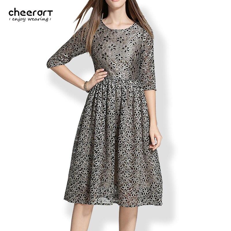 Fall 2016 Autumn Women Vintage Evening Elegant Sequin Dress With Paillettes Long Party Lace Midi