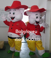Высокое качество Взрослый размер red hat зеленые туфли свинья Талисман Костюм талисмана косплей хэллоуин костюм рождество С Ума Продажи