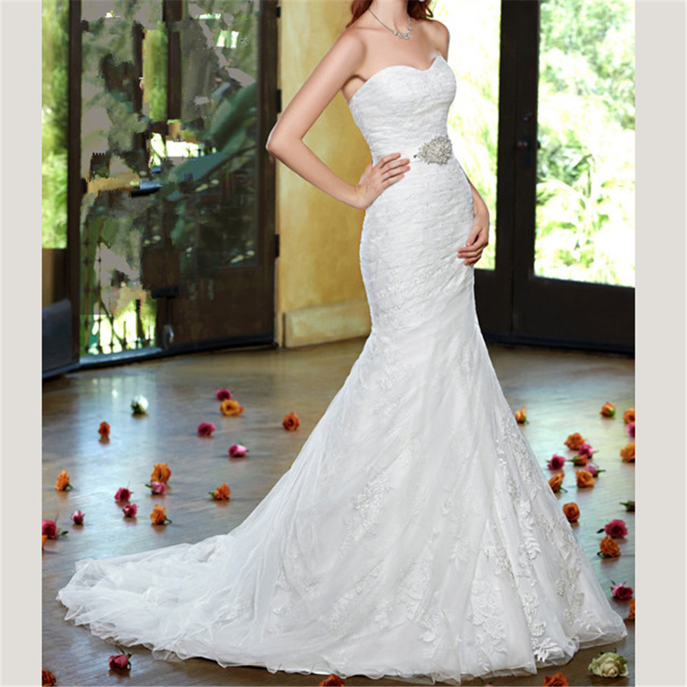 Elegant Strapless Embroidered Lace On Net Sweep Train Mermaid Appliques Beading Dropped Wedding Dress Embroidery