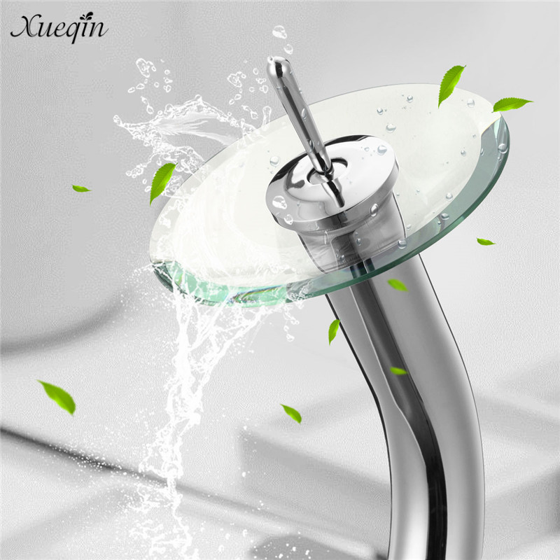 Xueqin Brass Round Glass Waterfall Sink Basin Faucet 360 Rotatable Mixer Tap Bathroom Basin Chrome Polished Finish Single Handle цена 2017