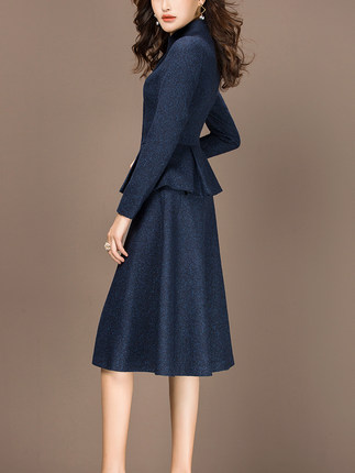2 piece outfits for women 2020 Fashion Autumn Winter Two Piece Set ELegant Office Lady Suit Plus Size 3XL casaco feminino LX439 - 3