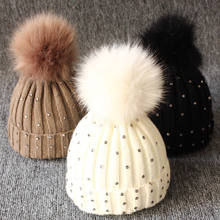 Newborn Baby Boy Girls lovely kintted Pompon Beanies Winter Caps Warm Fur Pom sequins Knit Beanie Hat fleece crochet Caps(China)