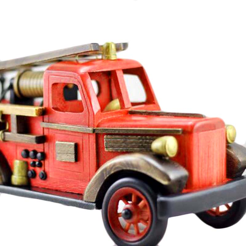 Fire Engine Wood Educational Models Vintage Pumper Model Toys For Kids Vehicle Decor Car-styling Birthday Gift Toy Collection maisto jeep wrangler rubicon fire engine 1 18 scale alloy model metal diecast car toys high quality collection kids toys gift