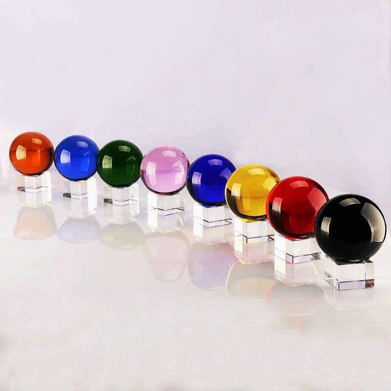 Colorful 30mm crystal ball with base photographic ornament magic glass sphere for gift souvenir home decoration
