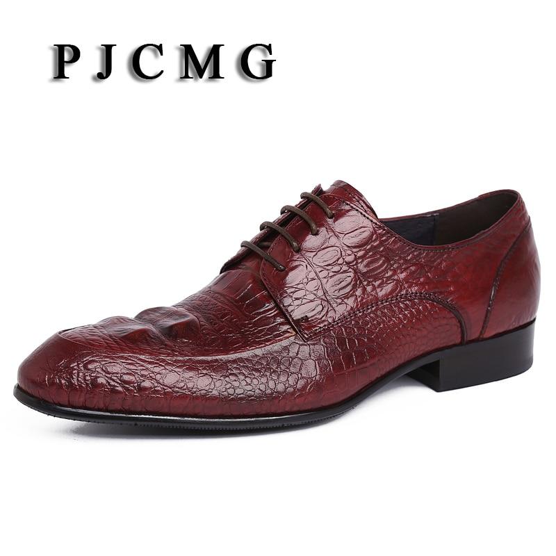 Pjcmg D'affaires Robe Pointu Printemps Hommes En Dentelle De up Chaussures Black automne Cuir noir Bout Véritable Oxford Rouge red Mariage 44wrq0S