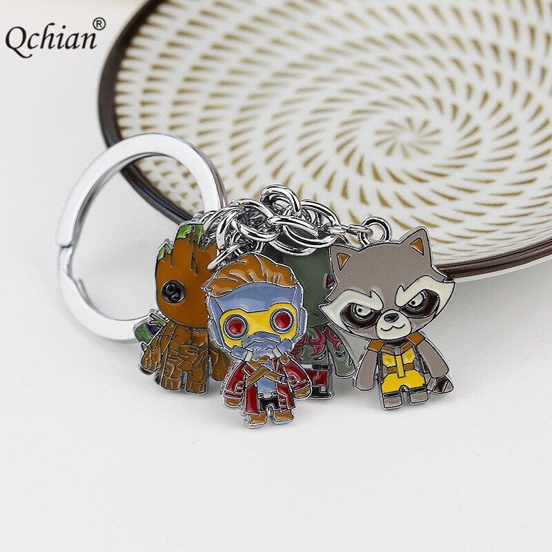 10pcs/lot Rocket Raccoon Tree - Man Guardians Of The Galaxy Lead Metal Decorative Pendant Keychain Register Free Shipping