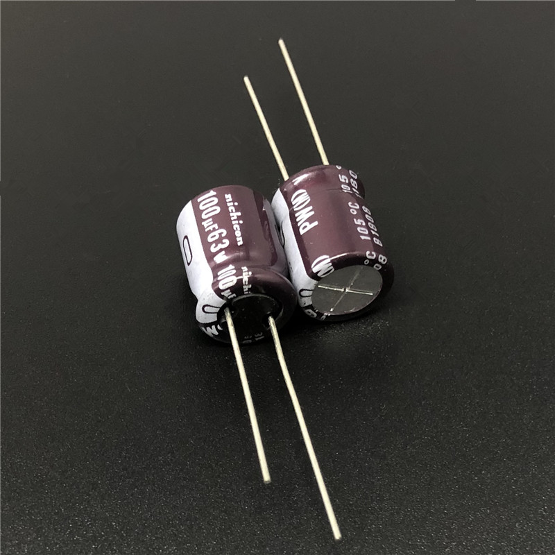 10pcs/100pcs 100uF 63V NICHICON PW Series 10x12.5mm Low Impedance Long Life 63V100uF Aluminum Electrolytic Capacitor