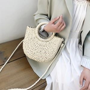 Соломенные сумки для женщин, летние пляжные сумки, винтажные повседневные женские сумки на плечо, вместительные сумки-тоут, сумки овальной формы