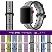 Sports Woven Nylon strap for Apple Watch Series 4/3/2/1 Colorfull Watchband for iWatch 38 40 42 44MM Waterproof Bracelet