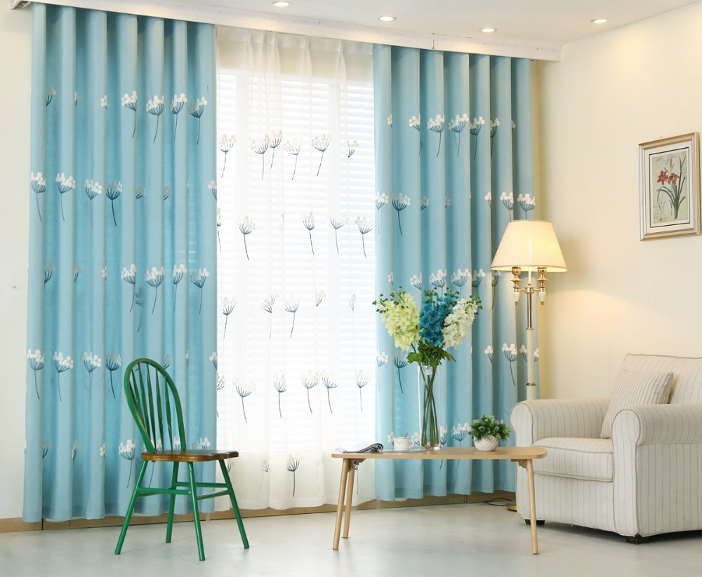 Aliexpress.com : Buy Sky Blue Embroidered Curtains Window Curtain For  Bedroom Living Room Solid Color Bedroom Curtains From Reliable Curtain  Height ...