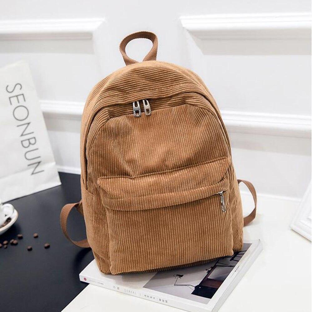 Travel Backpack School-Bags Corduroy-Bookbag Teenage-Girls Preppy-Style Striped Women