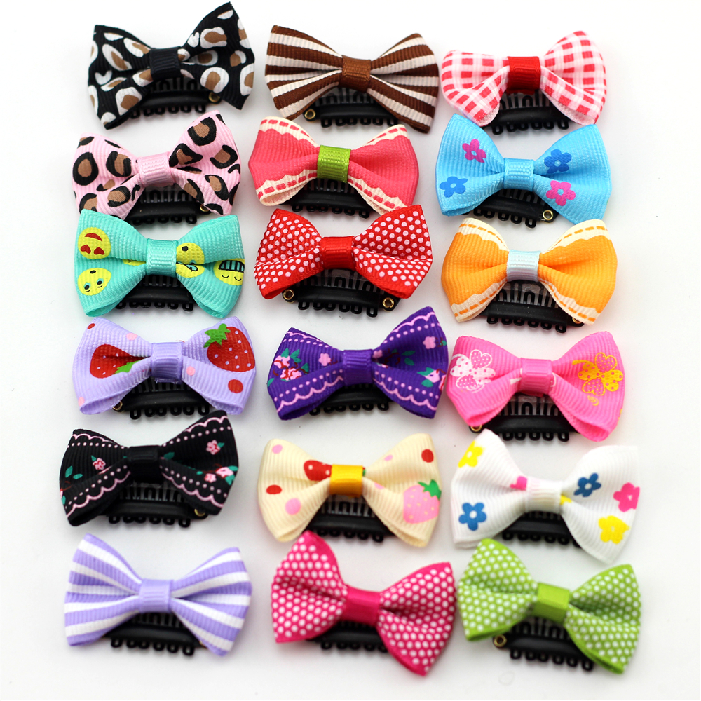 10 Packs Baby Girls Hairpins Solid Color Bows Ribbon Hair Clips Hair Accessories