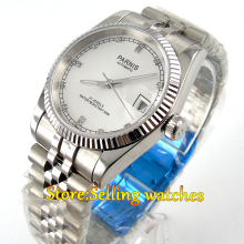 лучшая цена Parnis 36mm unisex white dial sapphire glass MIYOTA Automatic men's watch