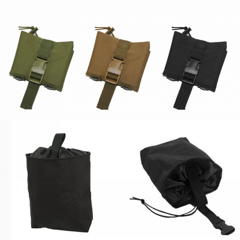 CQC Tactical Molle Folding Dump Drop Magazine Pouch Airsoft Paintball Military Outdoor Hunting Tool Foldable Recovery Mag Bag