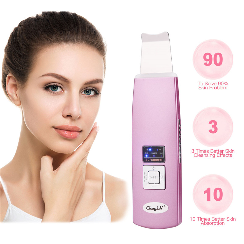 все цены на Ultrasonic Skin Scrubber Deep Cleaning Skin Machine Facial Pore Cleaner Acne Blackhead Remover Wrinkles Anti-aging Face Skin онлайн