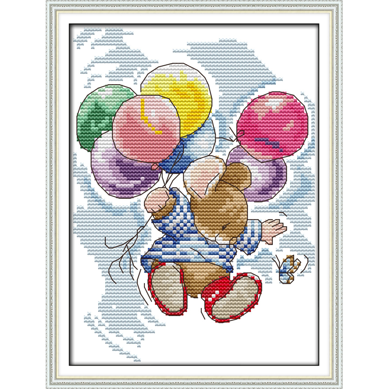 Flying cartoon animal counted Cross Stitch 14CT Cross Stitch Sets wholesale Cross Stitch Kits Embroidery Home Decor Needlework