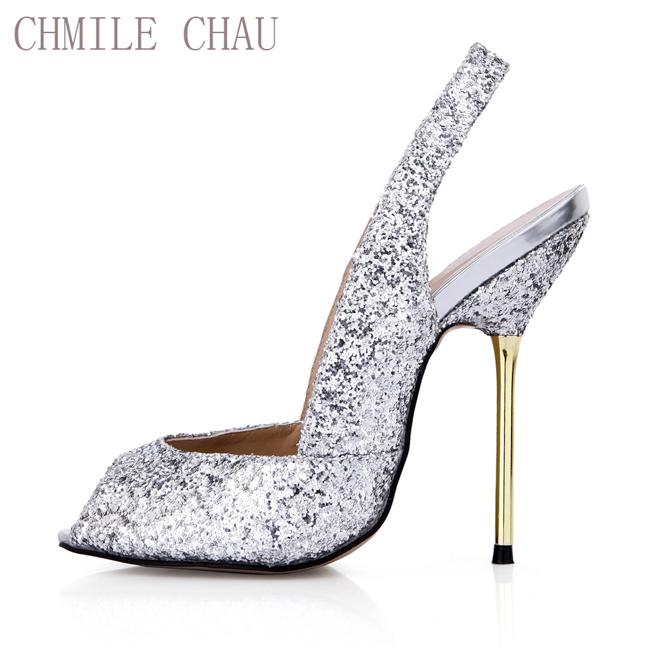 CHMILE CHAU Sexy Glitter Women Bridal Party Pumps Peep Toe Stiletto Iron  High Heel Slingback Wedding 25764b946d96