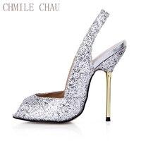 تشاو chmile مثير بريق المرأة الزفاف حزب مضخات اللمحة تو الخنجر الحديد الزفاف السيدات أحذية عالية الكعب slingback 3845-g1