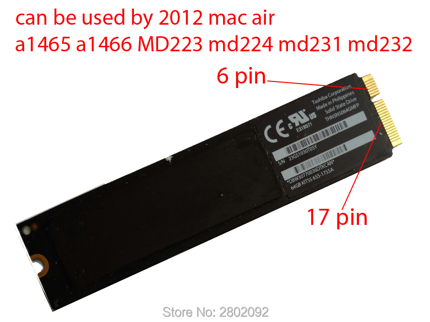 Original 512GB SSD For 2012 Macbook Air A1465 A1466 SOLID STATE DISK Md231 md232 md223 md224 hard disk