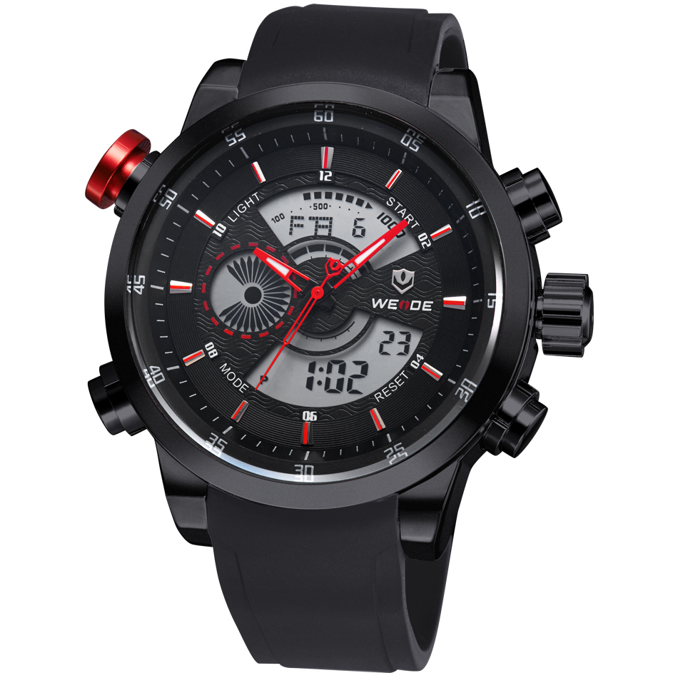 все цены на  2016 NEW Fashion WEIDE Luxury Brand Men's Quartz Digital Watches Men Casual Sports Clock Military Wristwatches relogio masculino  в интернете