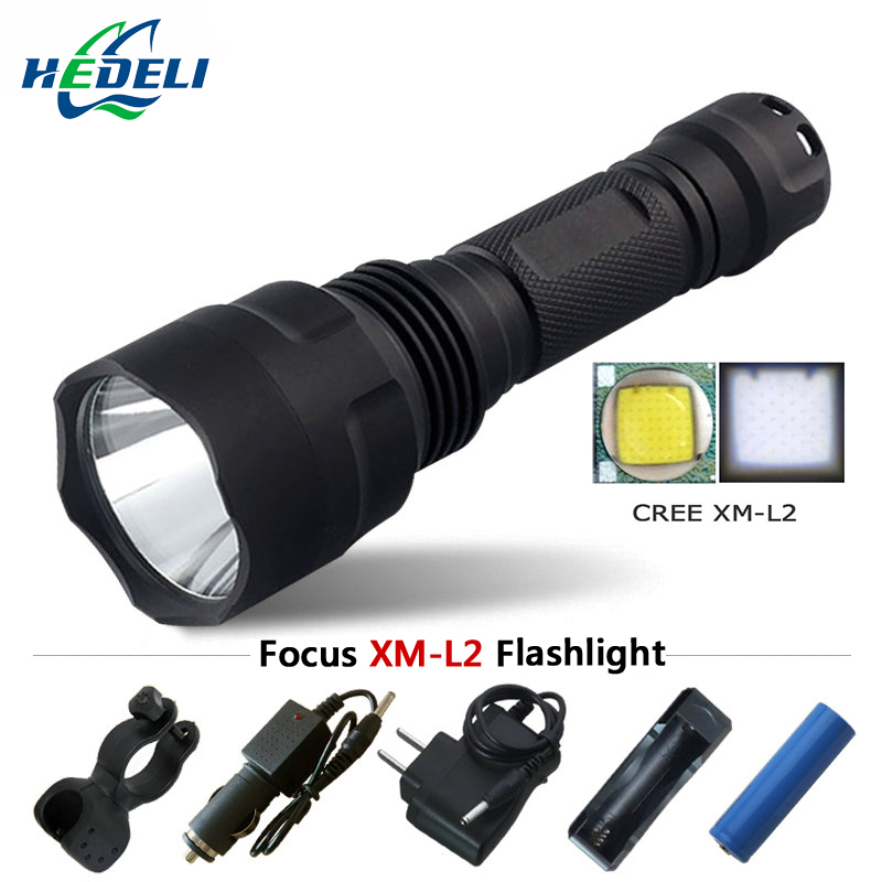 Tactical flashlight led flashlight CREE XM-L2 18650 waterproof lighting rechargeable battery tactical tailgate switch fishing makita hr5211c