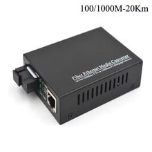Alta Calidad Convertes de Medios Ópticos Gigabit 10/100/1000 Mbps Ethernet para transceptores De Fibra óptica, sola fibra Monomodo 20Km