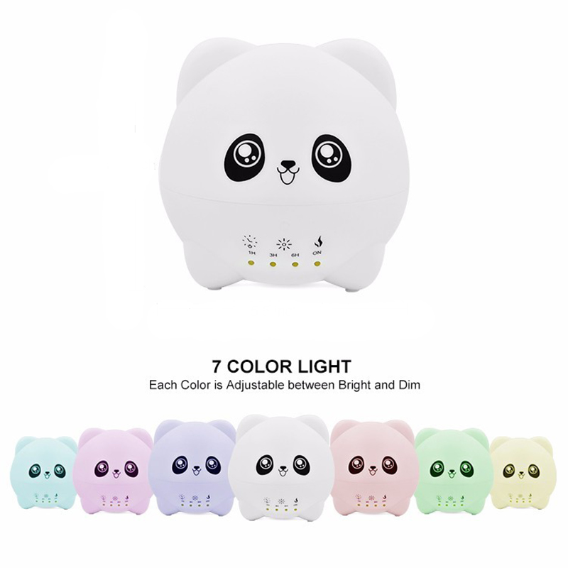 GRTCO 300ML Cute Panda Automatic Power-off Timing Essential Oil Aroma Diffuser Led Colorful Light Ultrasonic Air Humidifier