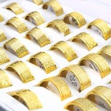 Najnowszy 20 części/partia Mix Style stal nierdzewna vintage pierścionki mężczyzn biżuteria złoty kolor czeski komunikat pierścionki hurtownie szerokość 8mm