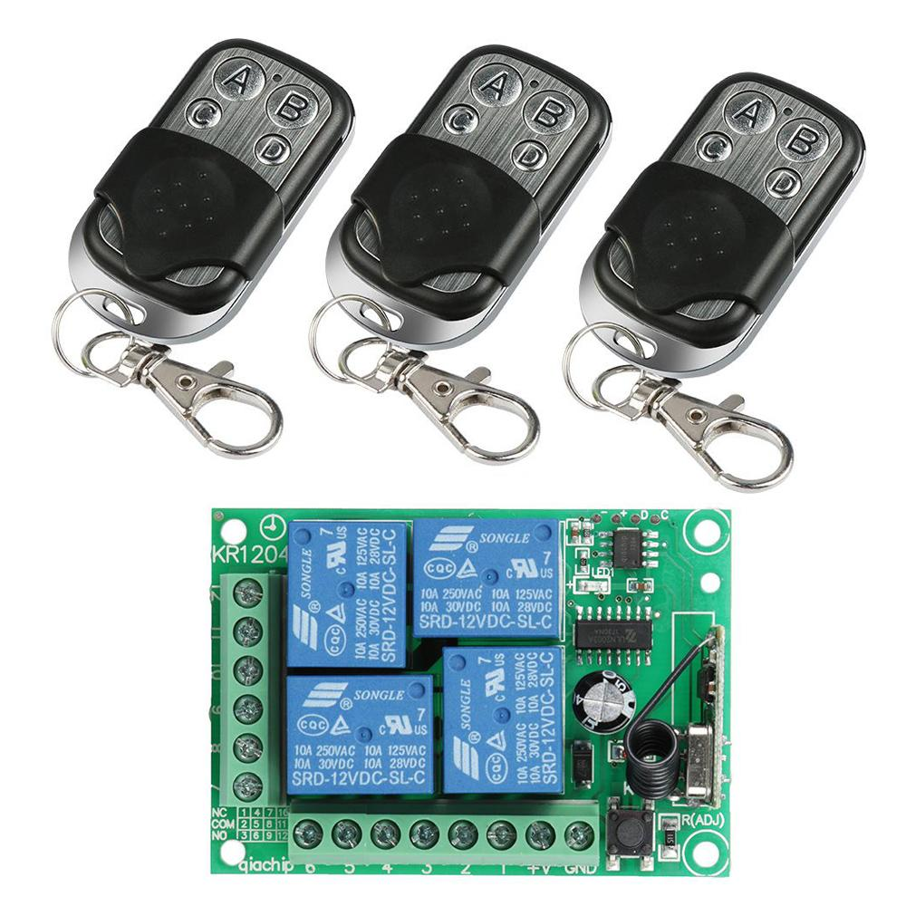 Wireless 433MHz RF 4 Channel Remote Control Transmitter Learning Code 1527 Key Fob with Relay Receiver Module Garage Door Opener