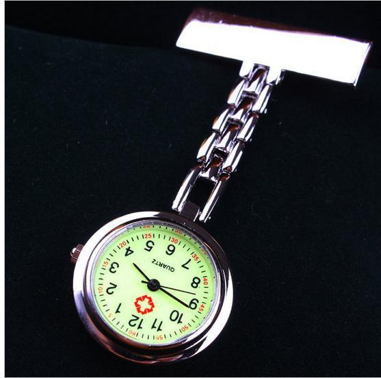 Clip Nurse Doctor Moonlight Pendant Pocket Quartz Red Cross Brooch Nurses Watch